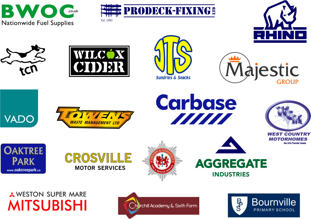 Some of the businesses we've already worked with, including Towens Waste Management, Weston-super-Mare Mitsubishi, Devon & Somerset Fire & Rescue Service, and BWOC